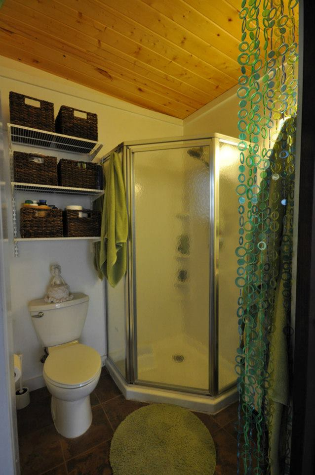 Simple Tiny Bathroom with Shower and Shelving Tiny House Pins