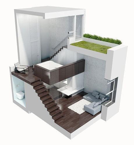 Modern spacious tiny house design manhattan micro loft for Small modern house plans with loft
