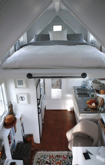 White Tiny House Interior With Loft