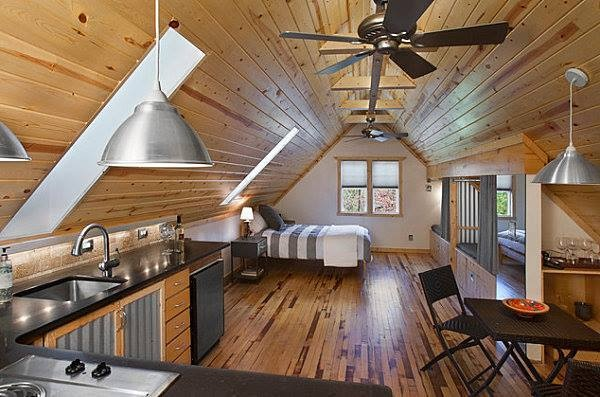 Tiny attic studio apartment interior tiny house pins for Carport with apartment above