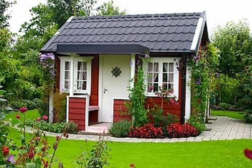 Little red swedish garden cottage tiny house pins for Beautiful small houses