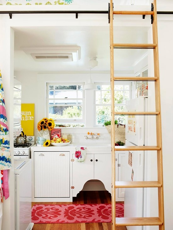Rolling Library Ladders for Tiny House Lofts