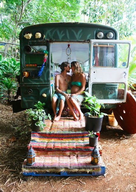 Simple living in a converted school bus tiny house pins for Simple living homes