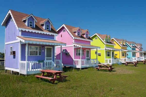 Community Of Tiny Colorful Cottages In Hatteras North Carolina