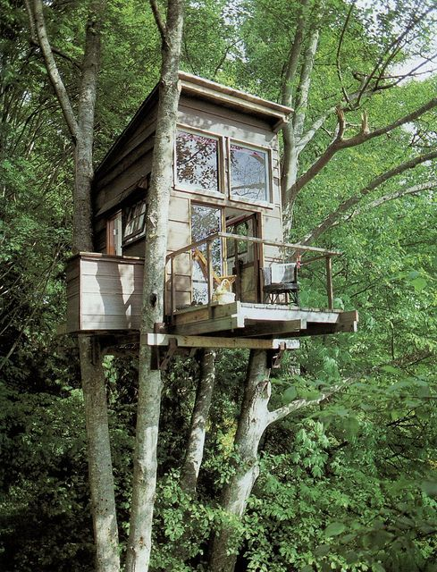 Tiny Treehouse Cabin with a Balcony Tiny House Pins