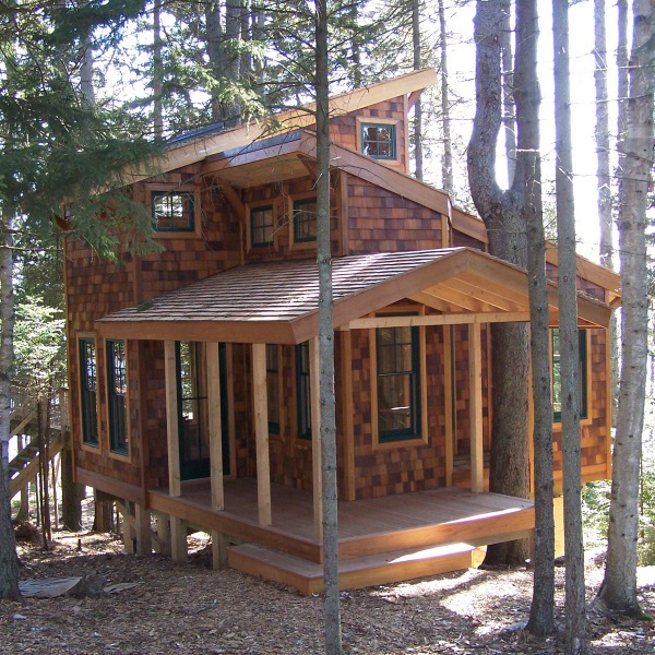 Tiny house in the trees 350 sq ft of bliss tiny house for Building a small cabin in the woods