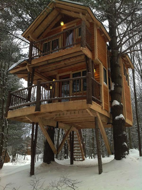 Treehouse cabin you can stay in at moose meadow lodge for Big two story houses