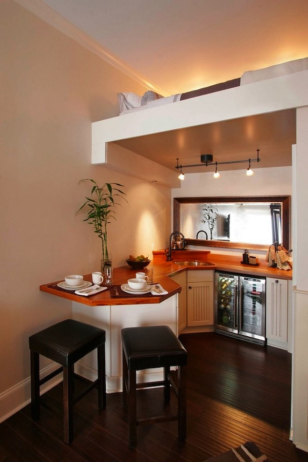 Beautiful Small Kitchen with Upstairs Sleeping Loft Tiny