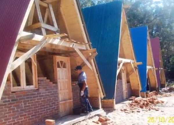 4 Small A Frame Houses Being Built Construction Video