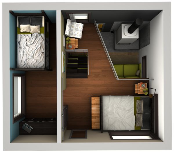 Malissa tack s tiny house big loft design in 3d tiny for Small house design loft