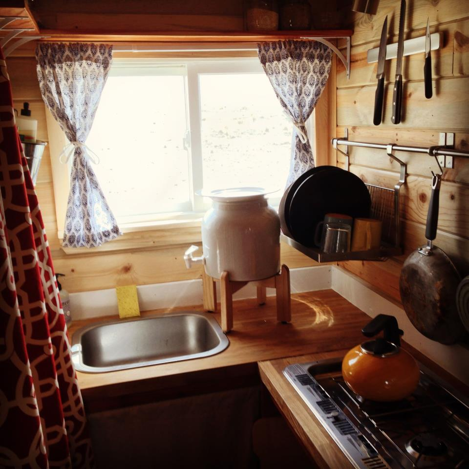 Rustic Tiny House Kitchen