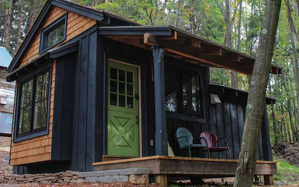 Simple living in tiny cabin with bedroom porch tiny for Tiny house santa barbara